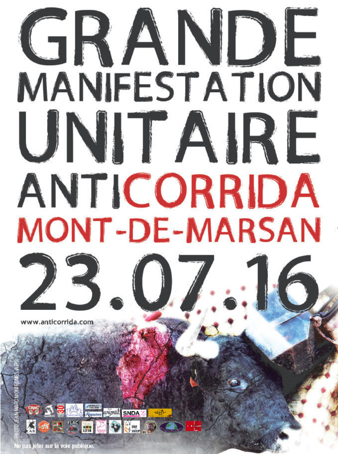 Grande manifestation unitaire anticorrida, Mont-de-Marsan 23 juillet 2016