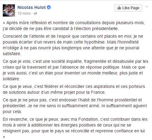 Nicolas Hulot ne sera pas candidat à la présidentielle de 2017